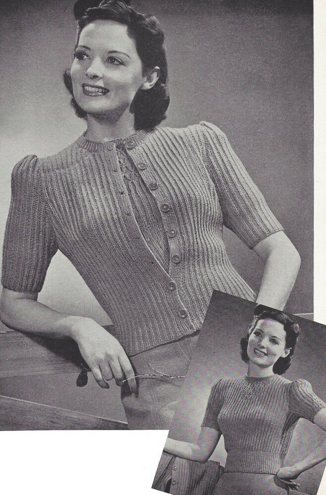 Vintage Knitting PATTERN to make 40s Smocked Sweater Set Cardigan Pullover To...
