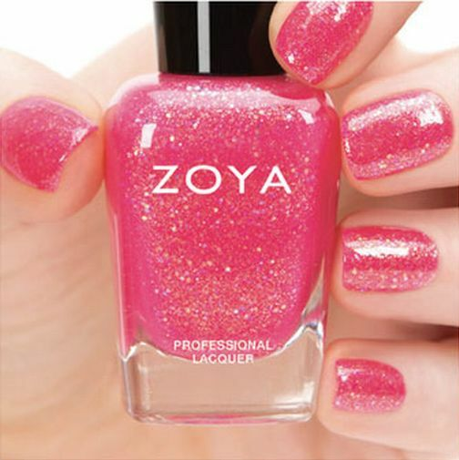 Cotton Candy Satin Fingernail Polish: ZOYA ZP738 HARPER Cotton Candy Pink W/ Gold Holographic