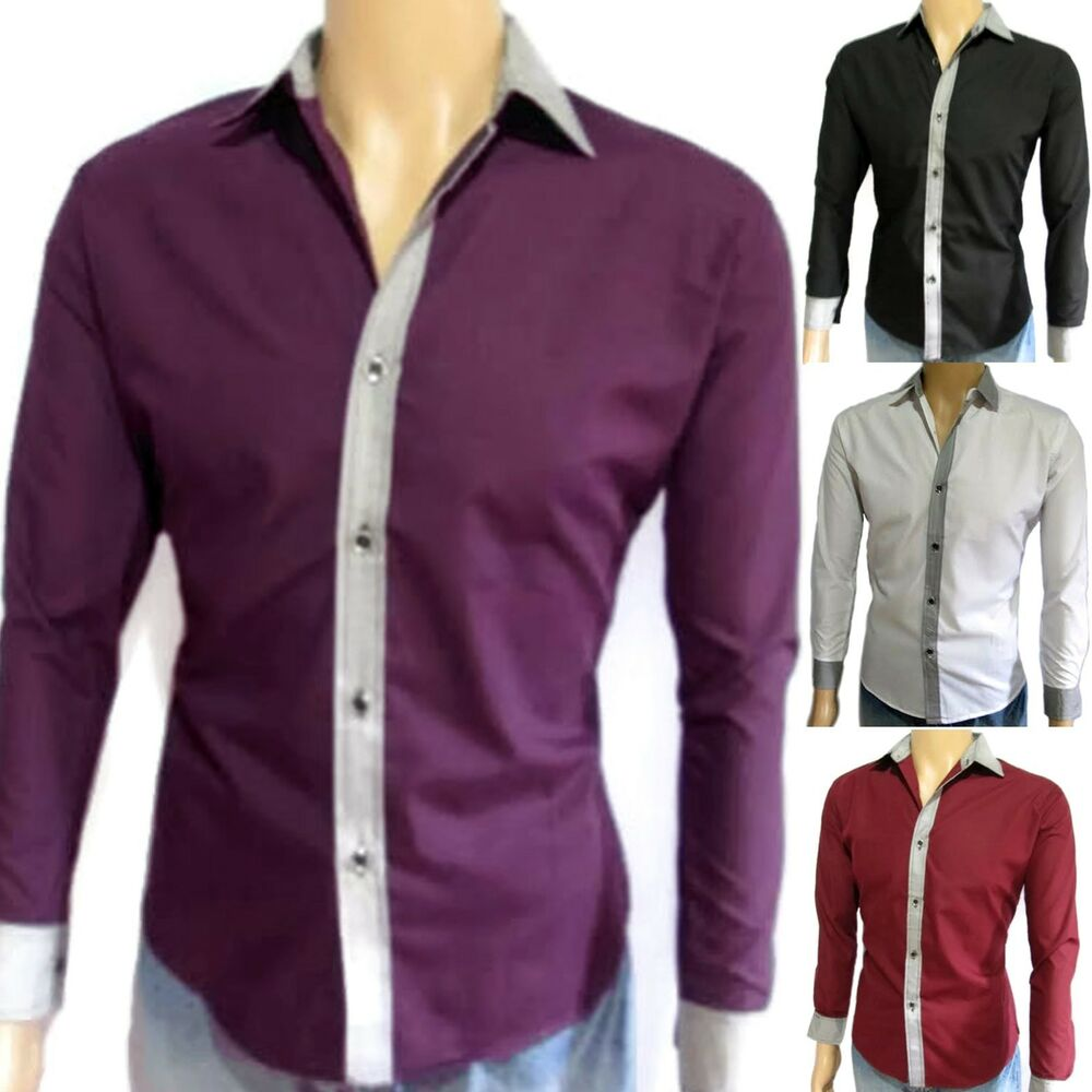 men 39 s slim fit shirt long sleeve fitted casual dress