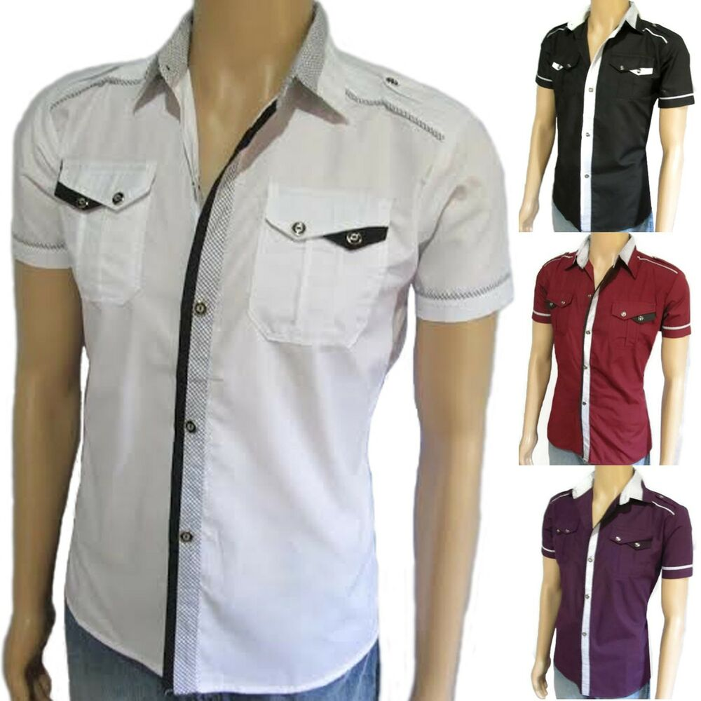 men 39 s slim fit shirt short sleeve fitted casual dress