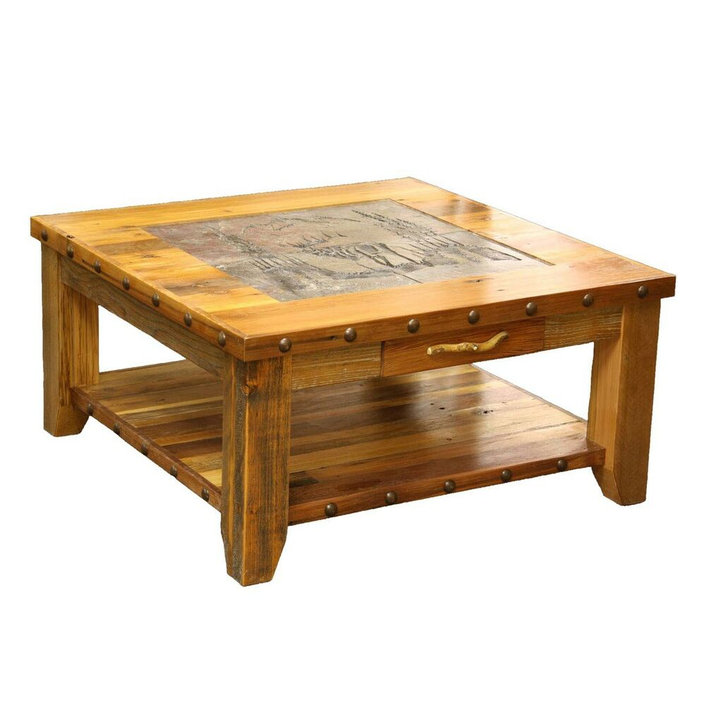 Western coffee table country rustic wood living room for Table western