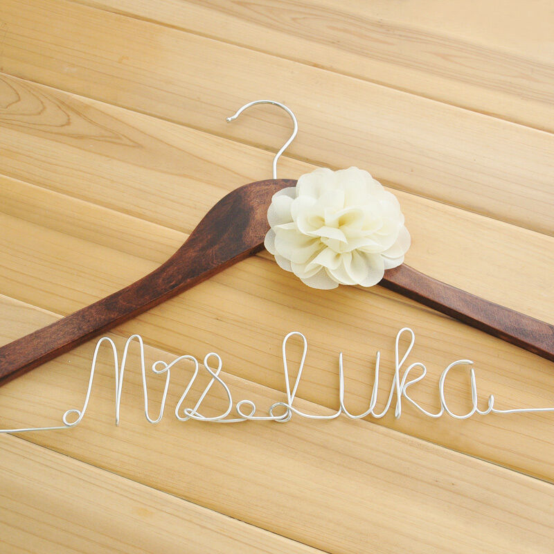 Personalized bridal name hanger custom bridesmaid hangers for Personalized wire wedding dress hanger