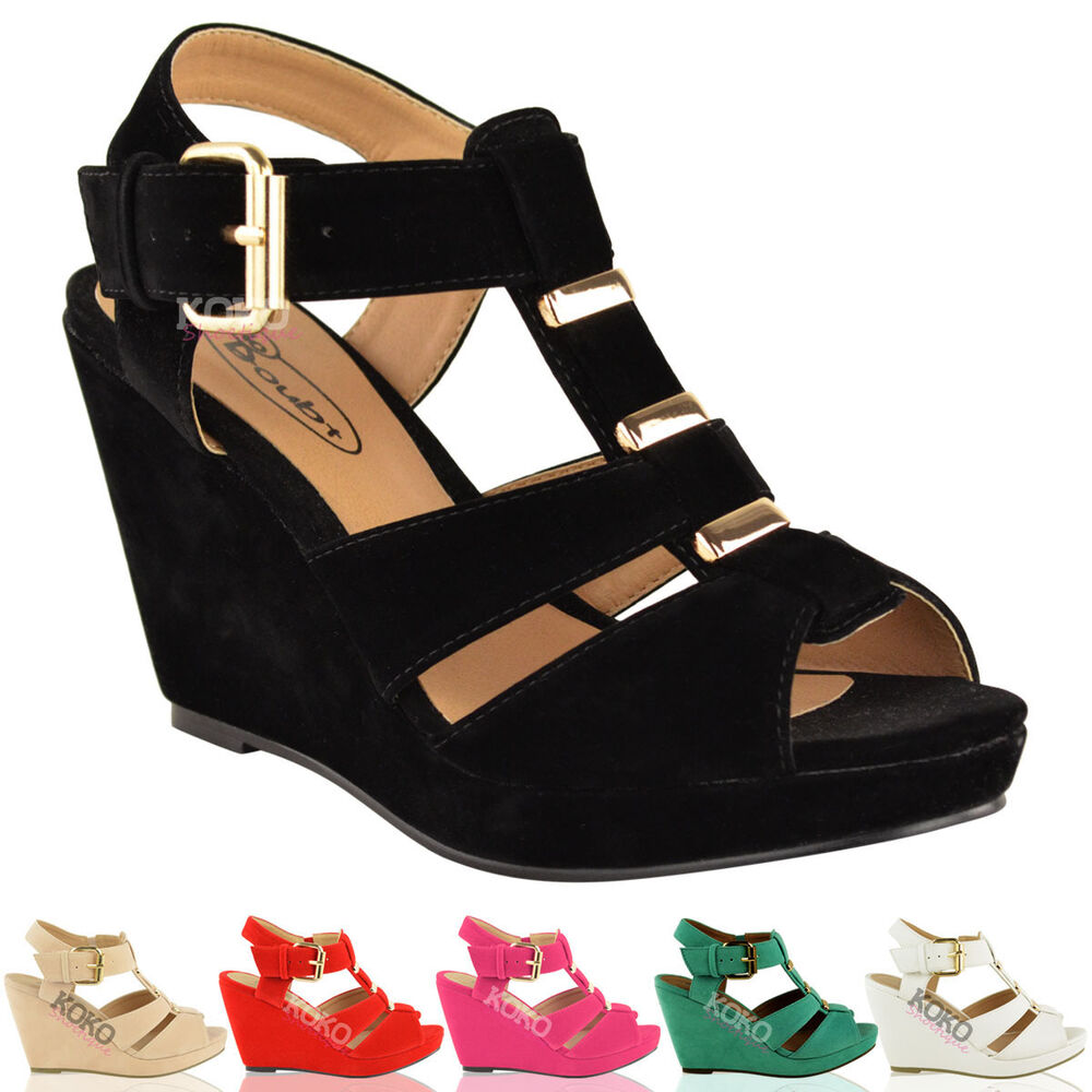womens summer wedges low mid heel comfort gladiator