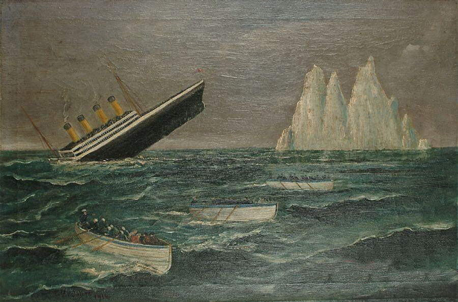Oil Painting Sinking Ship