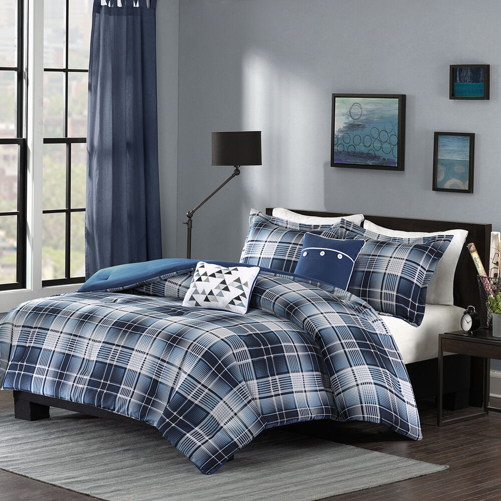 BEAUTIFUL MODERN LIGHT BLUE NAVY GREY PLAID STRIPE