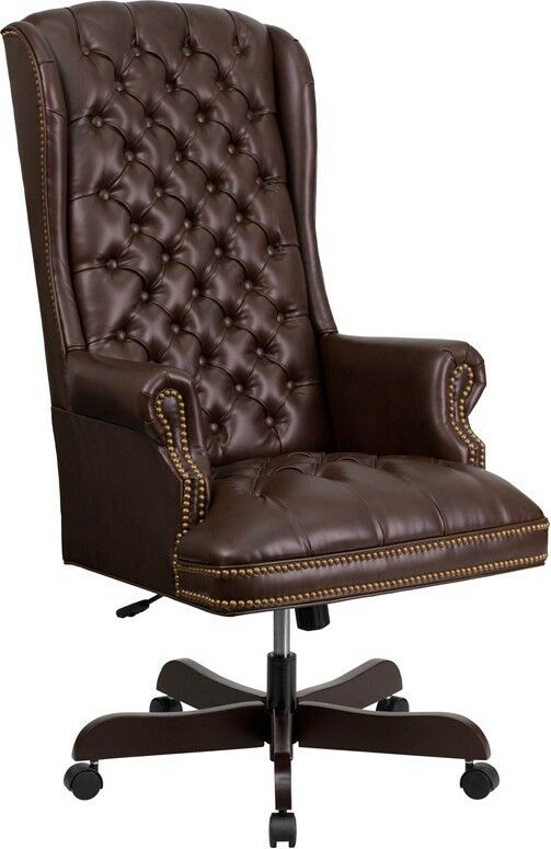 high back traditional tufted brown leather executive office chair ebay. Black Bedroom Furniture Sets. Home Design Ideas