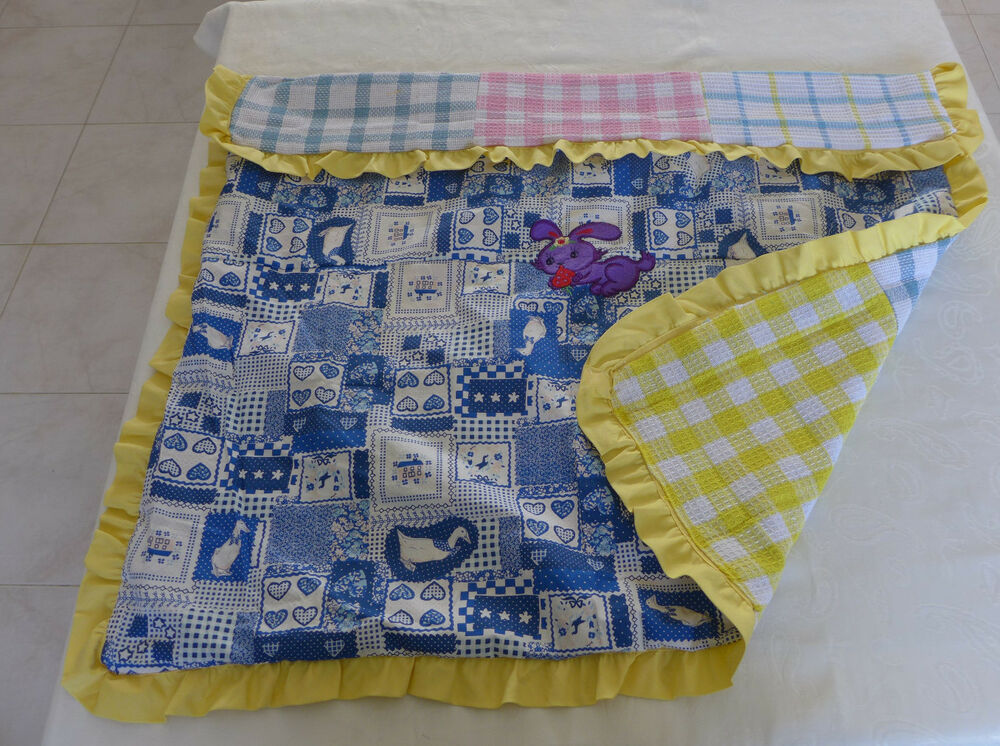 Handmade new quilted baby blanket multi color cotton for Unisex baby fabric