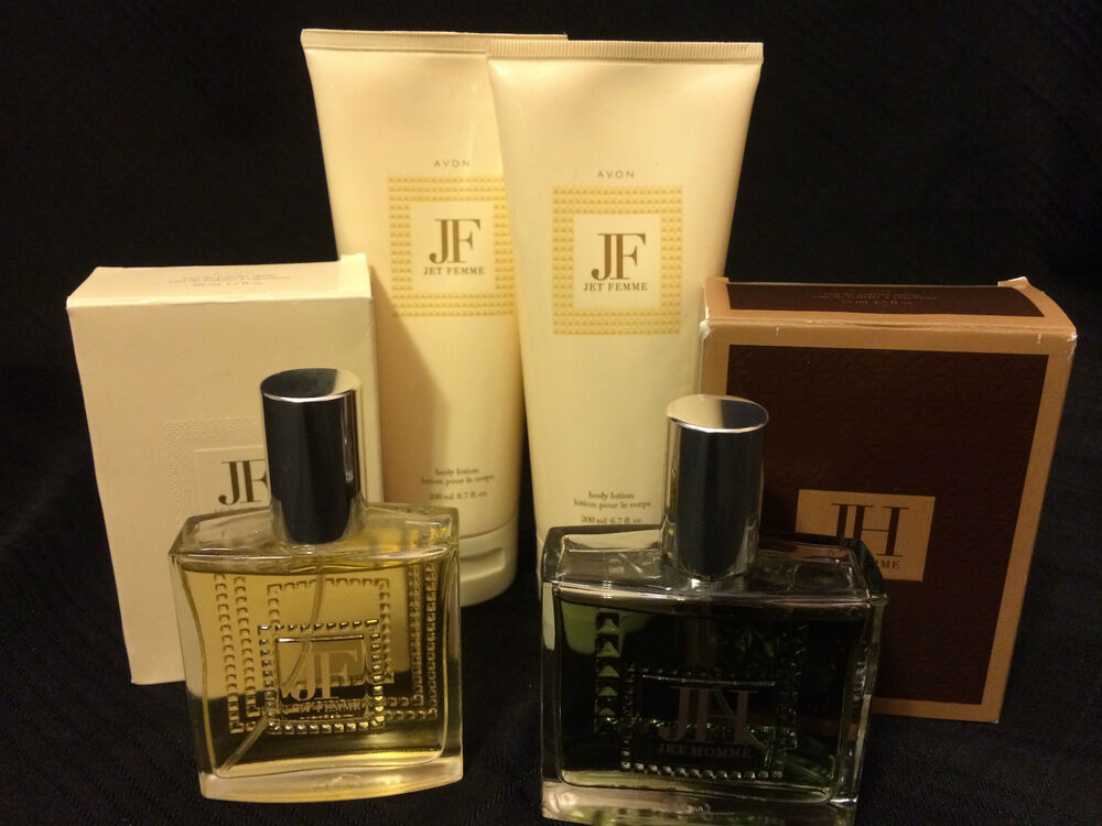 avon 39 jet femme 39 perfume body lotion and 39 jet homme 39 cologne new in box ebay. Black Bedroom Furniture Sets. Home Design Ideas