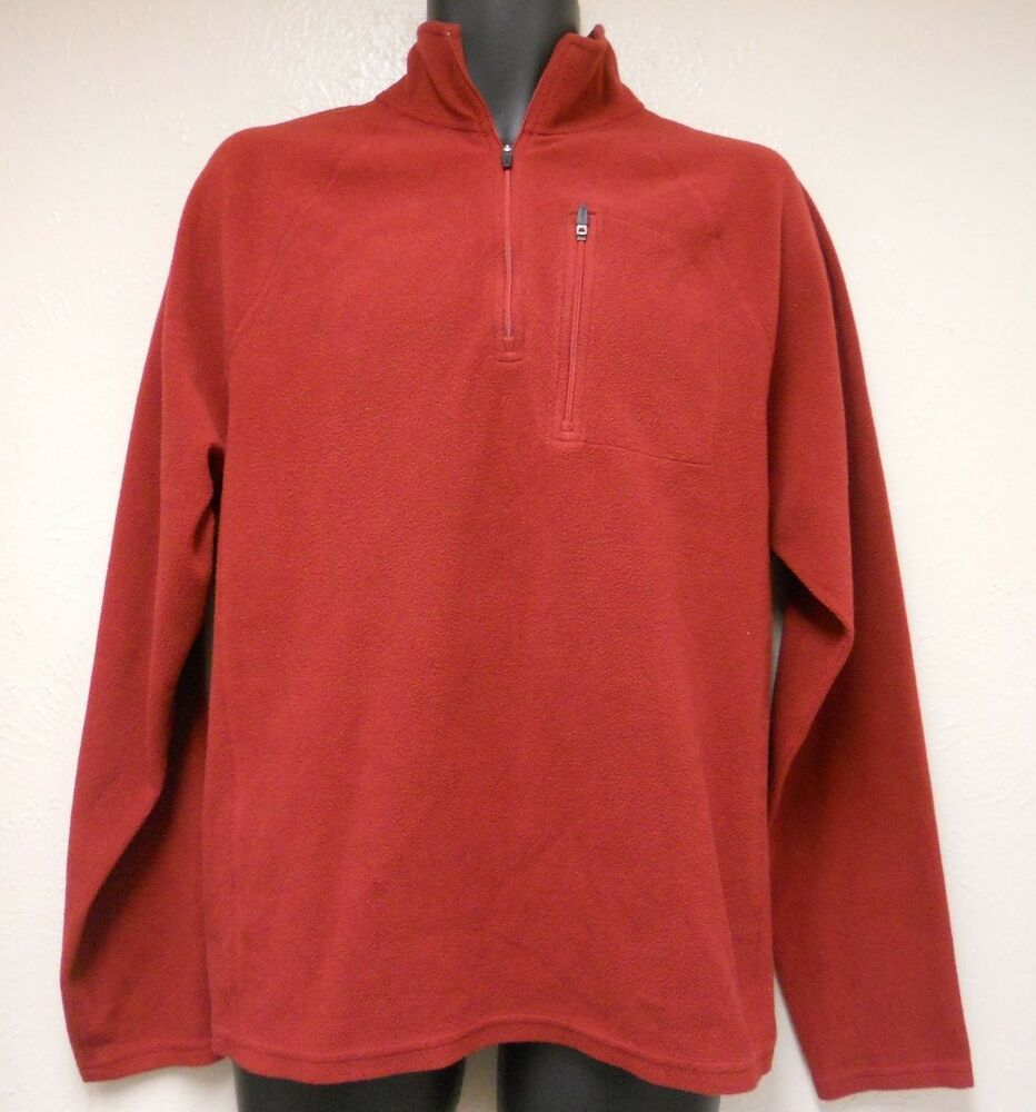 mens ll bean fleece pullover zip sweater size l