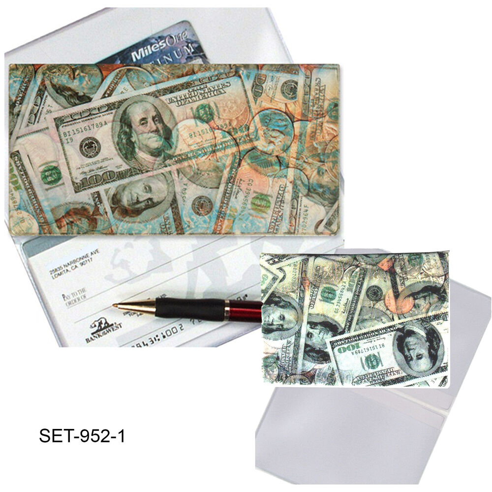Business Checkbook Cover : Coins dollars checkbook cover business card holder
