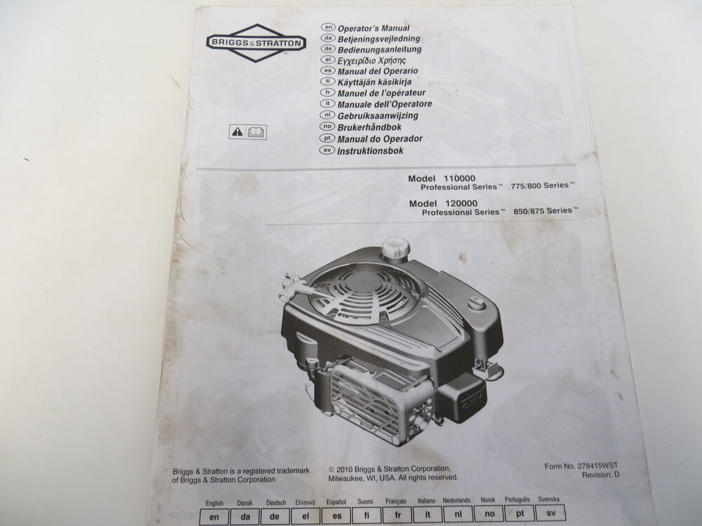 Briggs stratton 675 owners Manual
