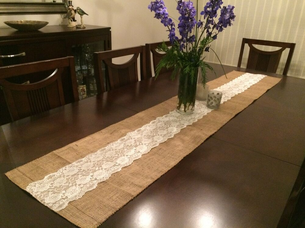Shabby rustic chic burlap and lace table runners 14 inches Dining room table runner ideas