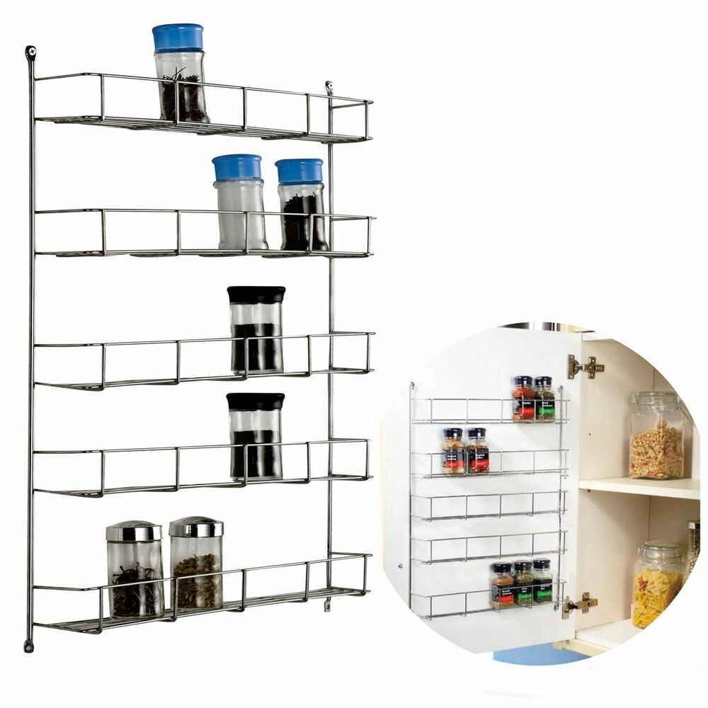 chrome kitchen storage racks 5 tier chrome spice rack back of door spice jar packet 5421