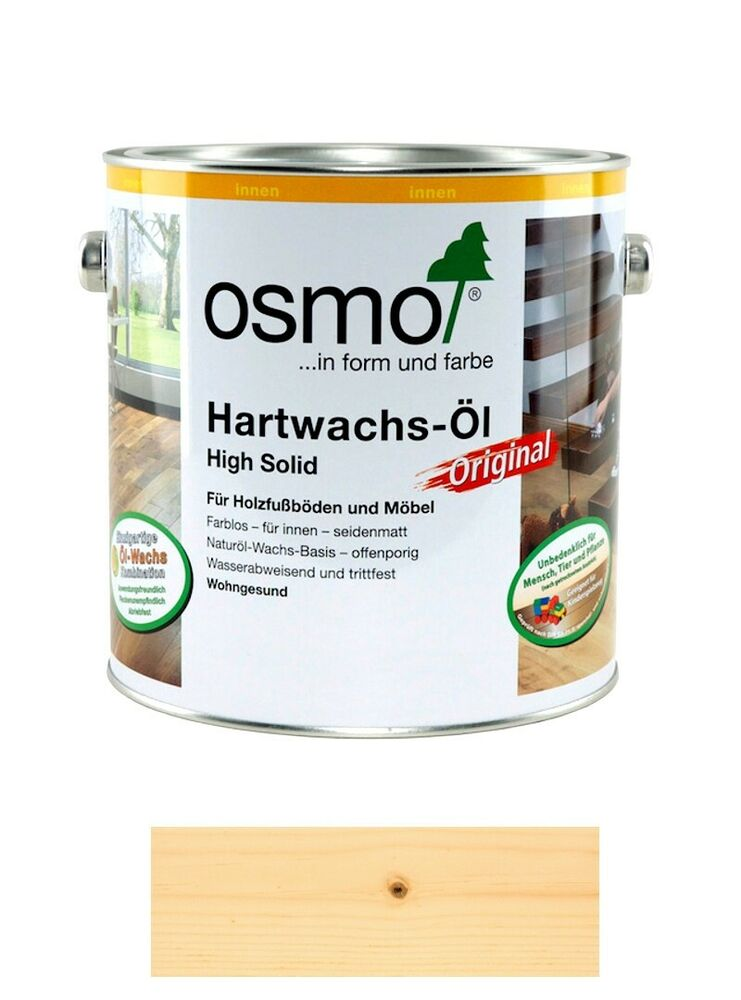 osmo hartwachs l hs original 3032 farblos seidenmatt 2 5 liter gebinde ebay. Black Bedroom Furniture Sets. Home Design Ideas