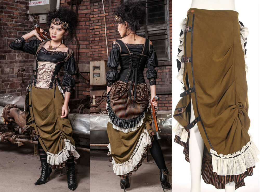 rq bl skirt steampunk khaki victorian gothic rock lace skirt maxi vintage sp083 ebay. Black Bedroom Furniture Sets. Home Design Ideas
