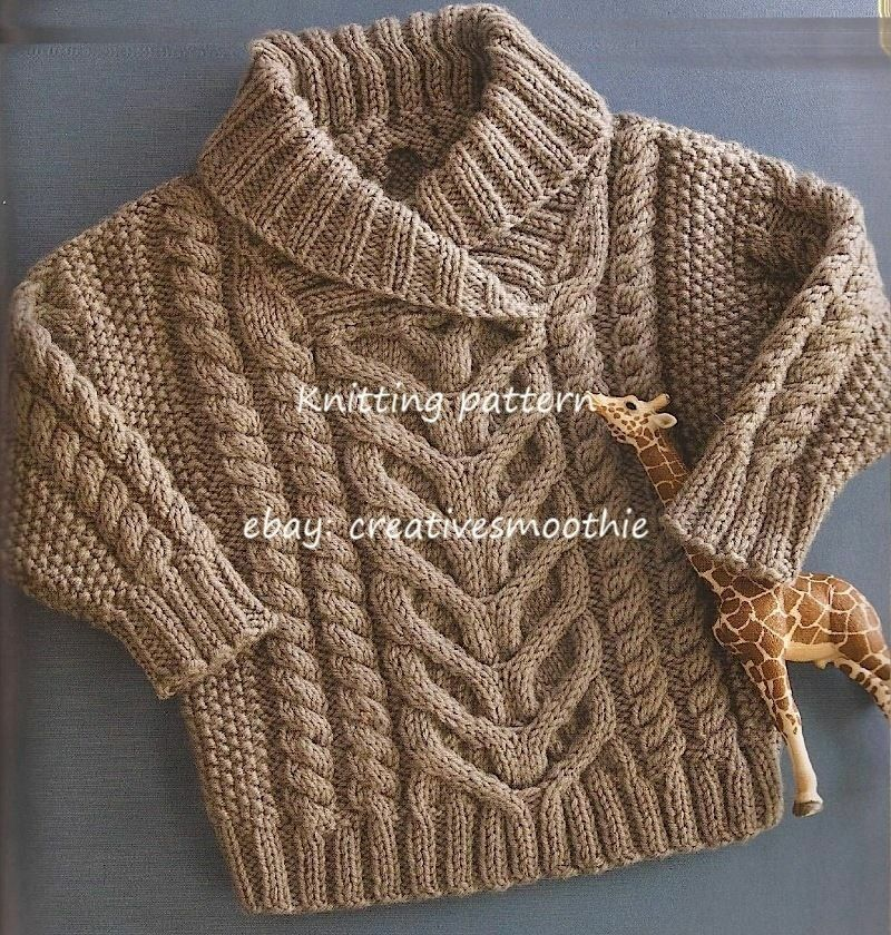 (442) Knitting Pattern for Babys Stunning Cable Pullover/ Sweater eBay