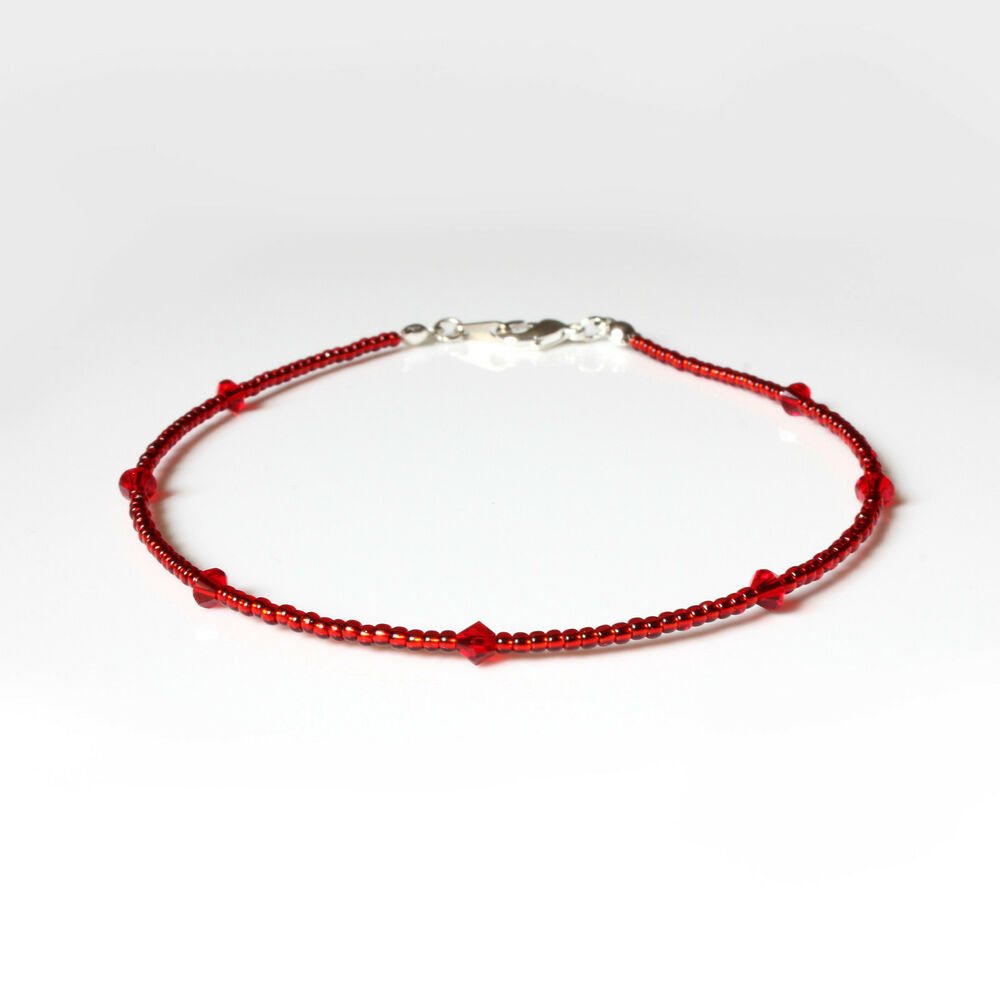 red swarovski crystal elements and seedbead bracelet ebay. Black Bedroom Furniture Sets. Home Design Ideas