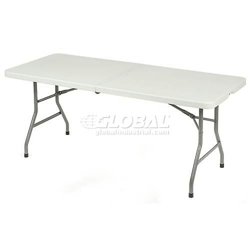 Plastic folding table 6 foot fold in half table ebay for 10 foot folding table