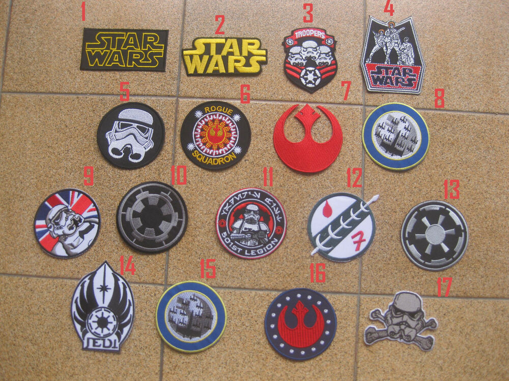 17 PCS STAR WARS MOVIE Collection iron on PATCH BADGE FREE SHIPPING ...