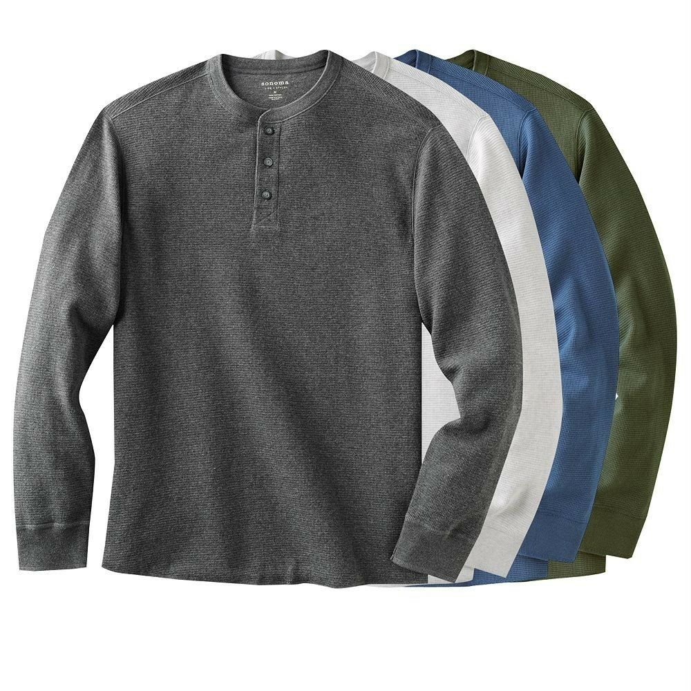 Sonoma mens thermal henley shirt many colors and sizes for Men s shirt sizes explained