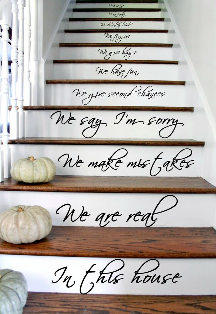 vinyl stairs decal quote in this house we are family text wall decor sticker ebay. Black Bedroom Furniture Sets. Home Design Ideas