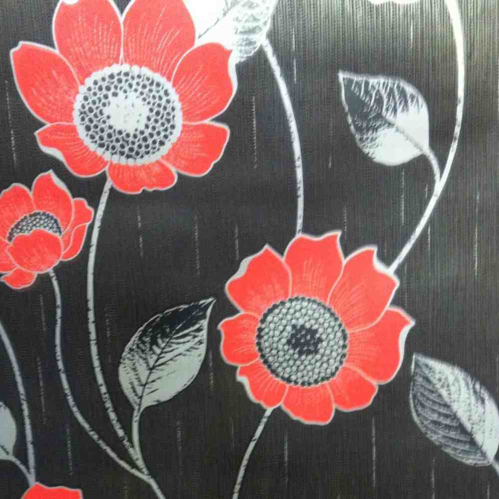Silver Black Red Designer Feature Wall Wallpaper Flowers