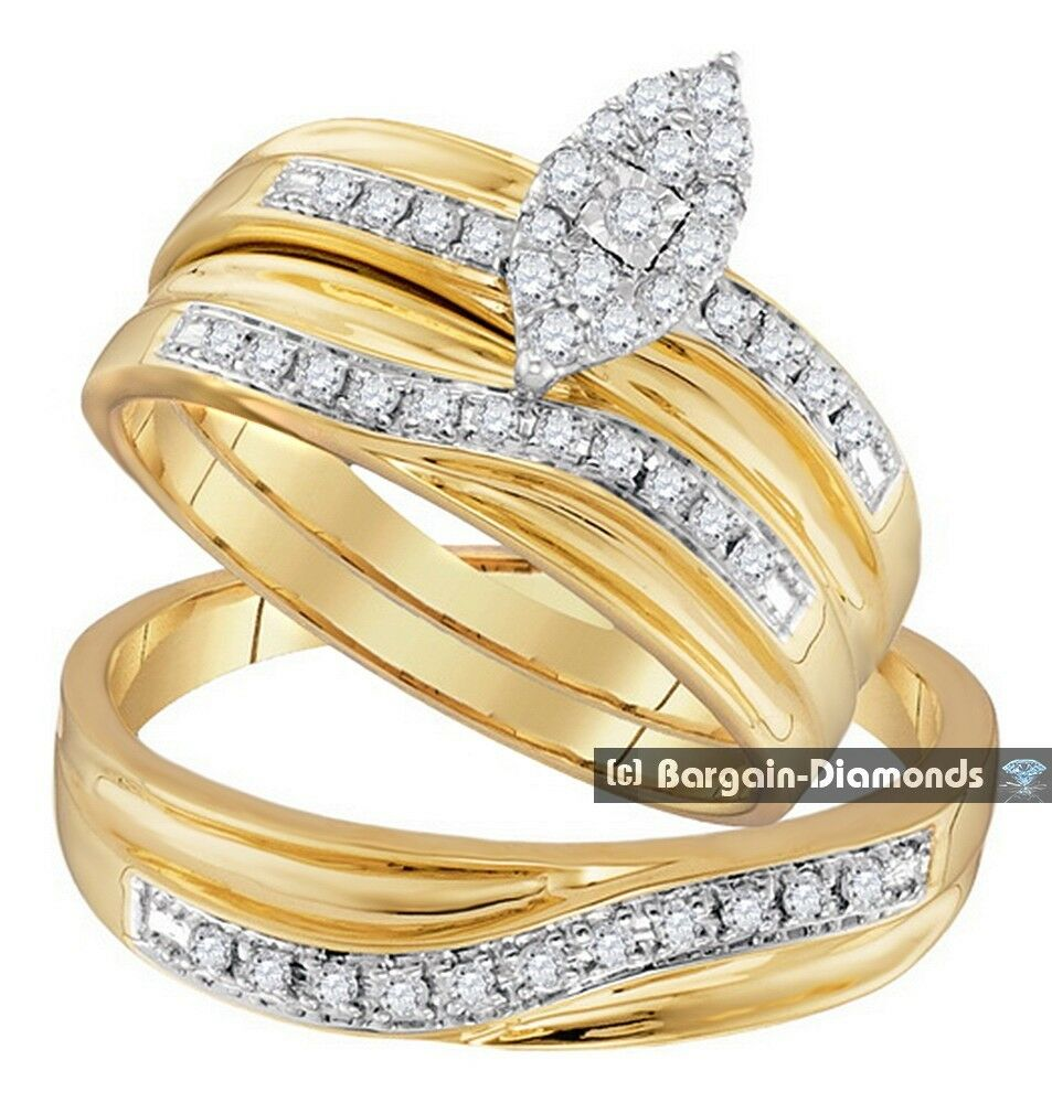 wedding ring sets 33 carat 3 ring bridal 10k gold engagement 9988