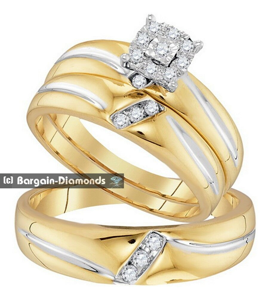 Diamond .22 Carat 3-ring Bridal 10K Gold Engagement 3