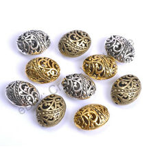Wholesale Tibetan Silver Ellipse Shaped Hollow Spacer Beads For Jewellry CA26