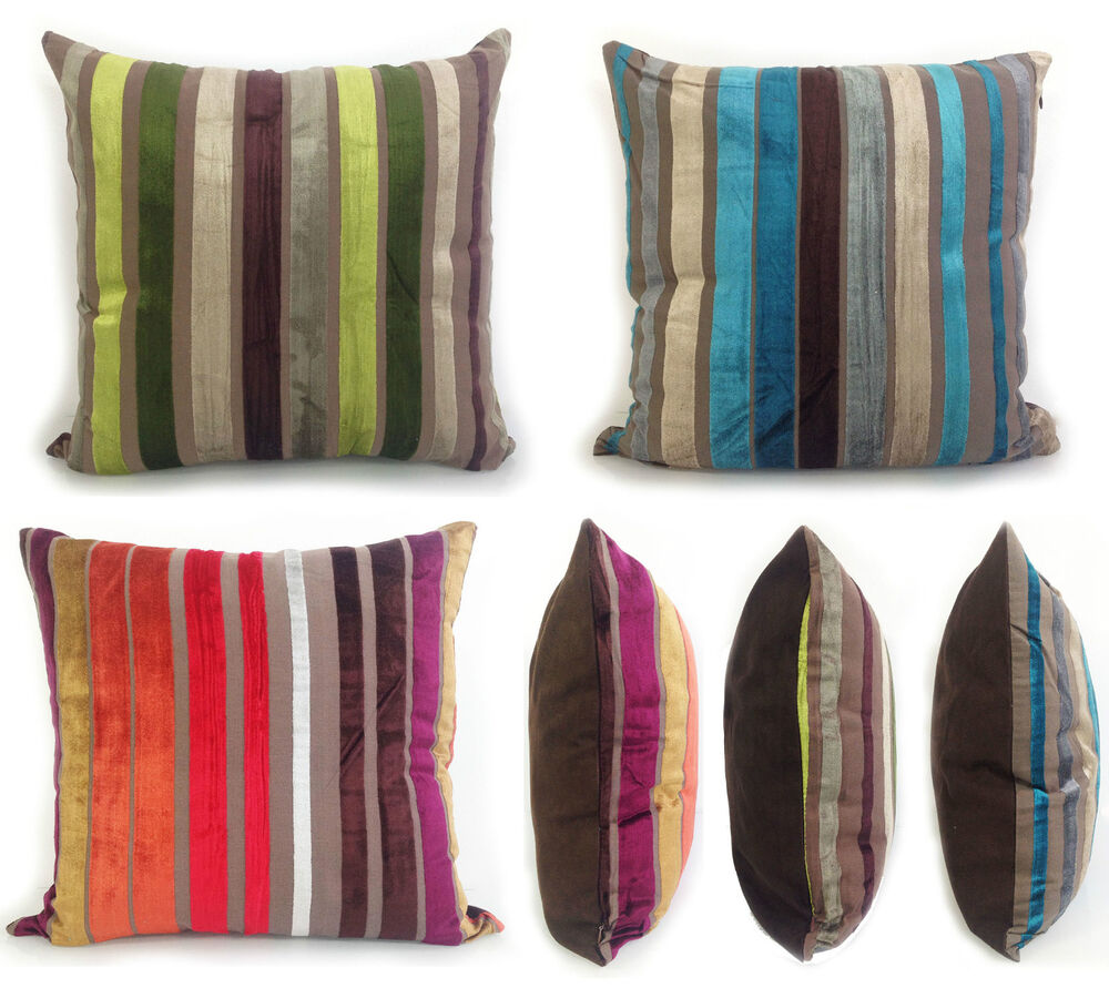 Large Velour Stripe Cushions Cushion Covers Scatter