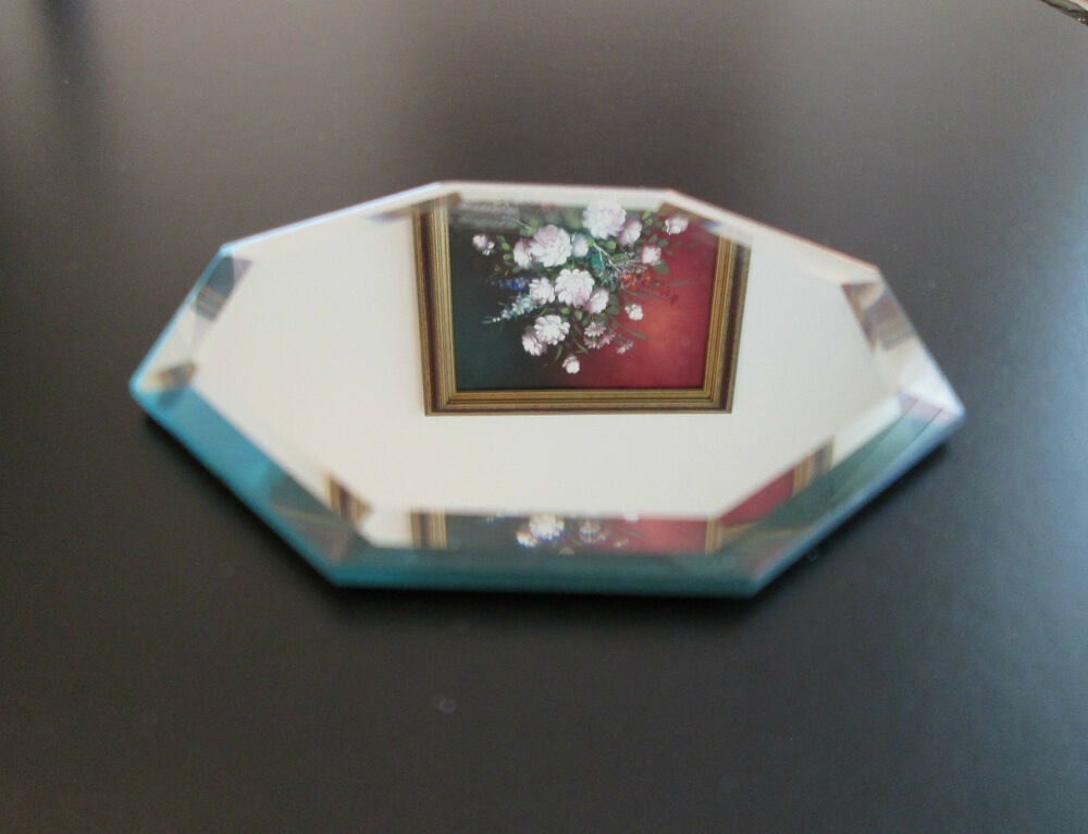 Beveled mirror 4 inch octagon glass coaster jewelry for Glass and mirror craft