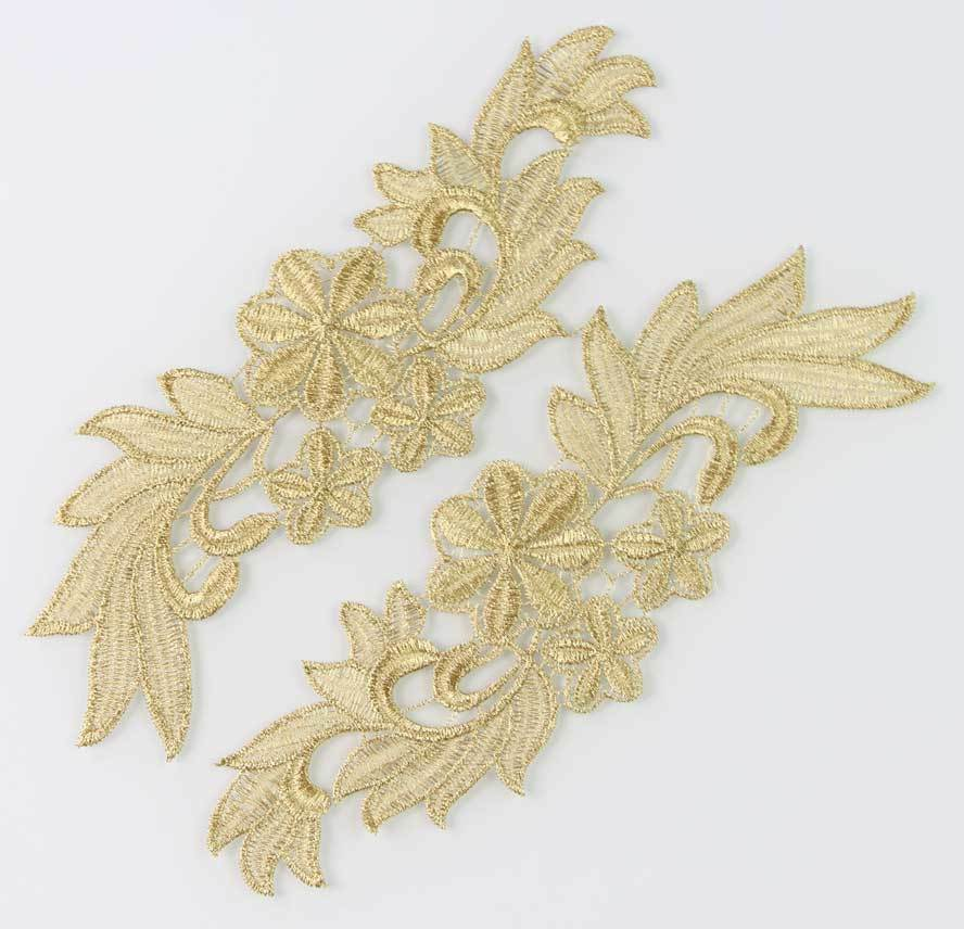Pair embroidery crafts gold lace flower shaped trim