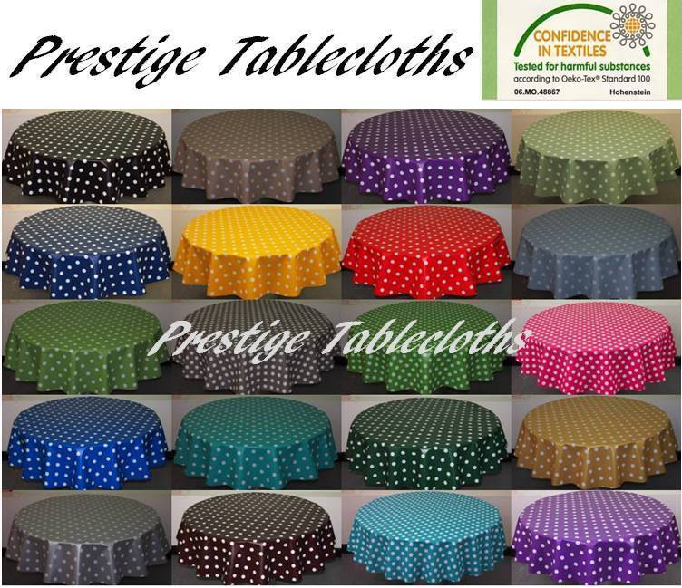 Round Polka Dot Spots Pvc Vinyl Tablecloth All Sizes By