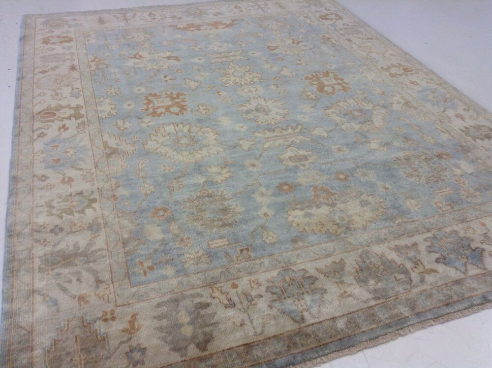7 9 Quot X 9 9 Quot Light Blue Muted Ivory Oushak Persian