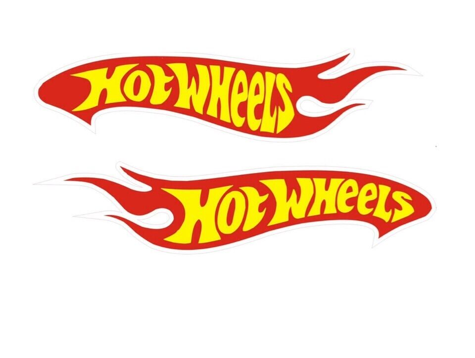 2 hot wheels decals car sticker red yellow and white vinyl for Circuit hot wheels mural
