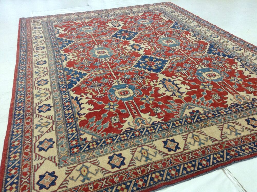 10 X 14 Geometric Red Blue Persian Oriental Area Rug Hand