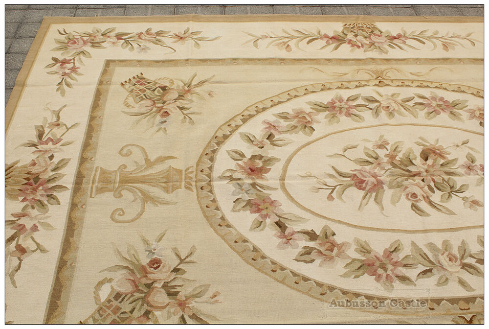 6 7x10 Shabby Rose Chic Handwoven Aubusson Rug Wool Floor
