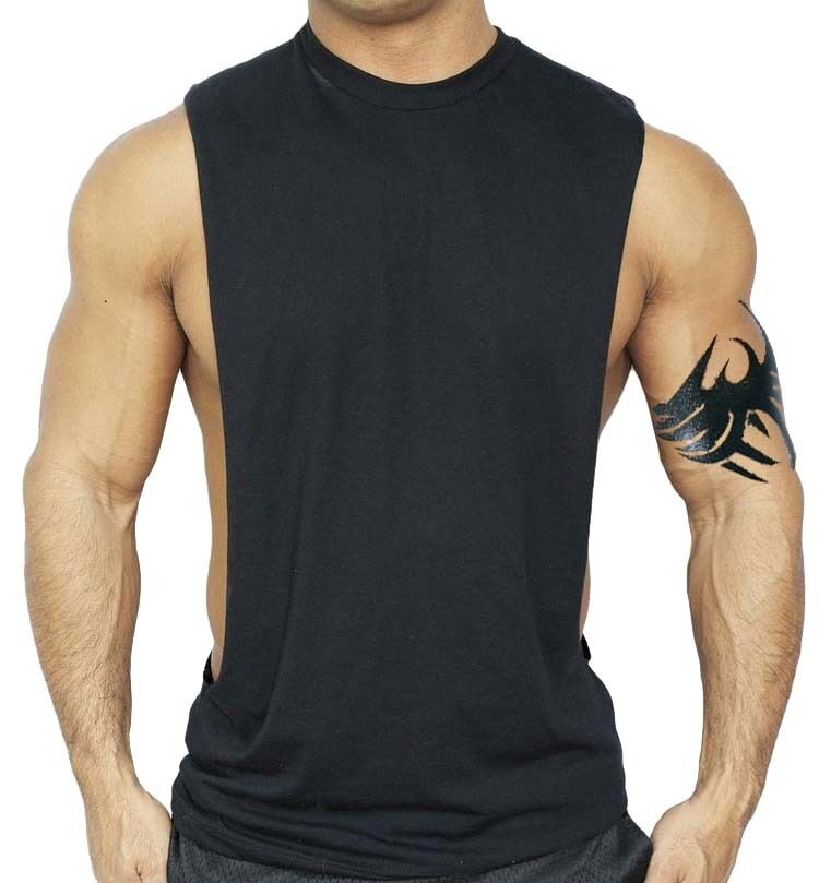 Men 39 s black workout vest tank top bodybuilding gym muscle for Best fitness t shirts