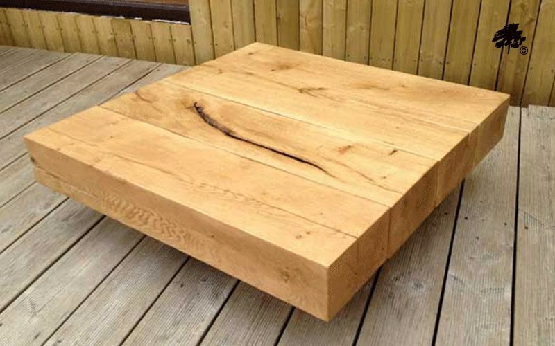 Square Floating Oak Sleeper Coffee Table Various Sizes