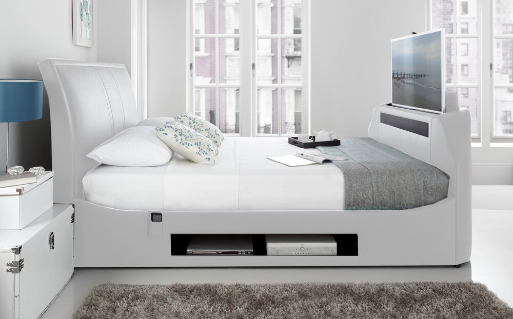 Maximus White Leather Multi Media King Size Tv Bed With 40