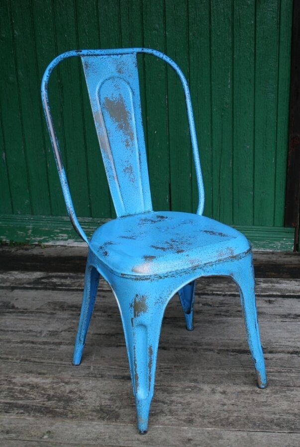 Blue Metal French Cafe Chair New Distressed Blue