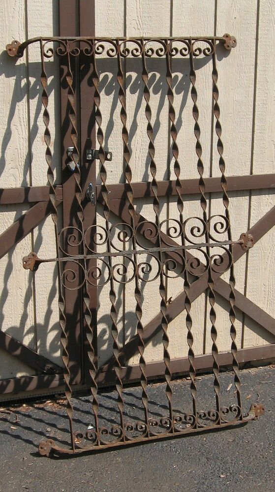 Large antique wrought iron arcitectural window grate for Reclaimed wood pot rack