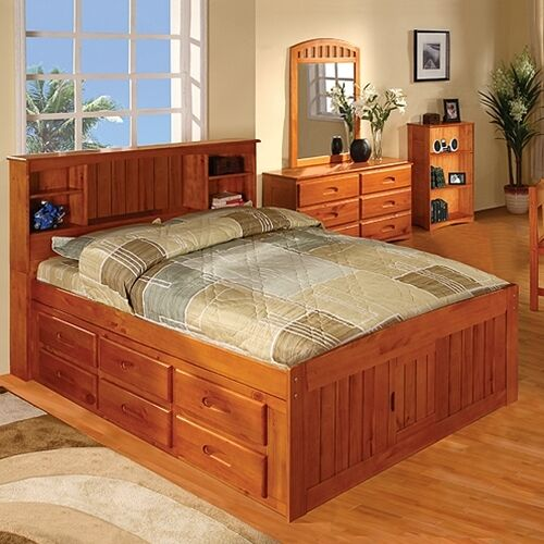 Discovery World Furniture Honey Bookcase Captains Bed Full ...