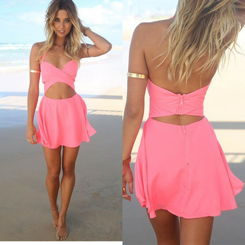 sexy women 39 s cocktail party evening bandage mini dress summer beach skirts ebay. Black Bedroom Furniture Sets. Home Design Ideas