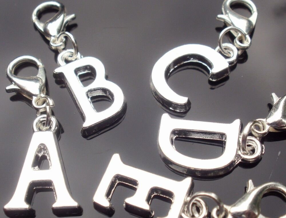 silver plated alphabet initial letter number clip on With initial letter charms