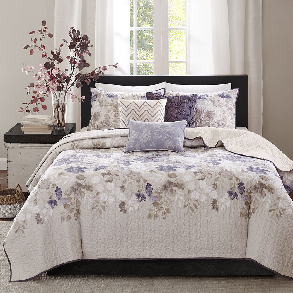 Beautiful modern chic ivory white purple grey taupe leaf for Purple and taupe bedroom