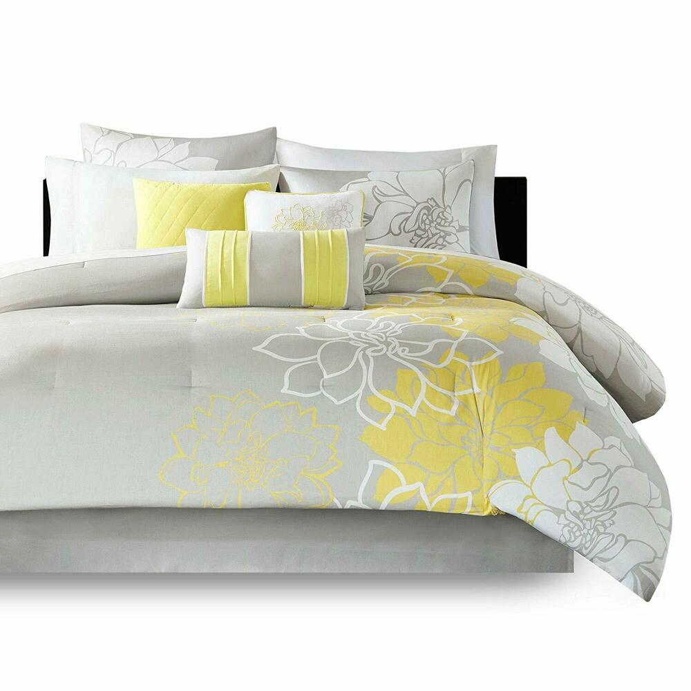 beautiful soft cotton contemporary yellow white grey chic flower comforter set ebay. Black Bedroom Furniture Sets. Home Design Ideas