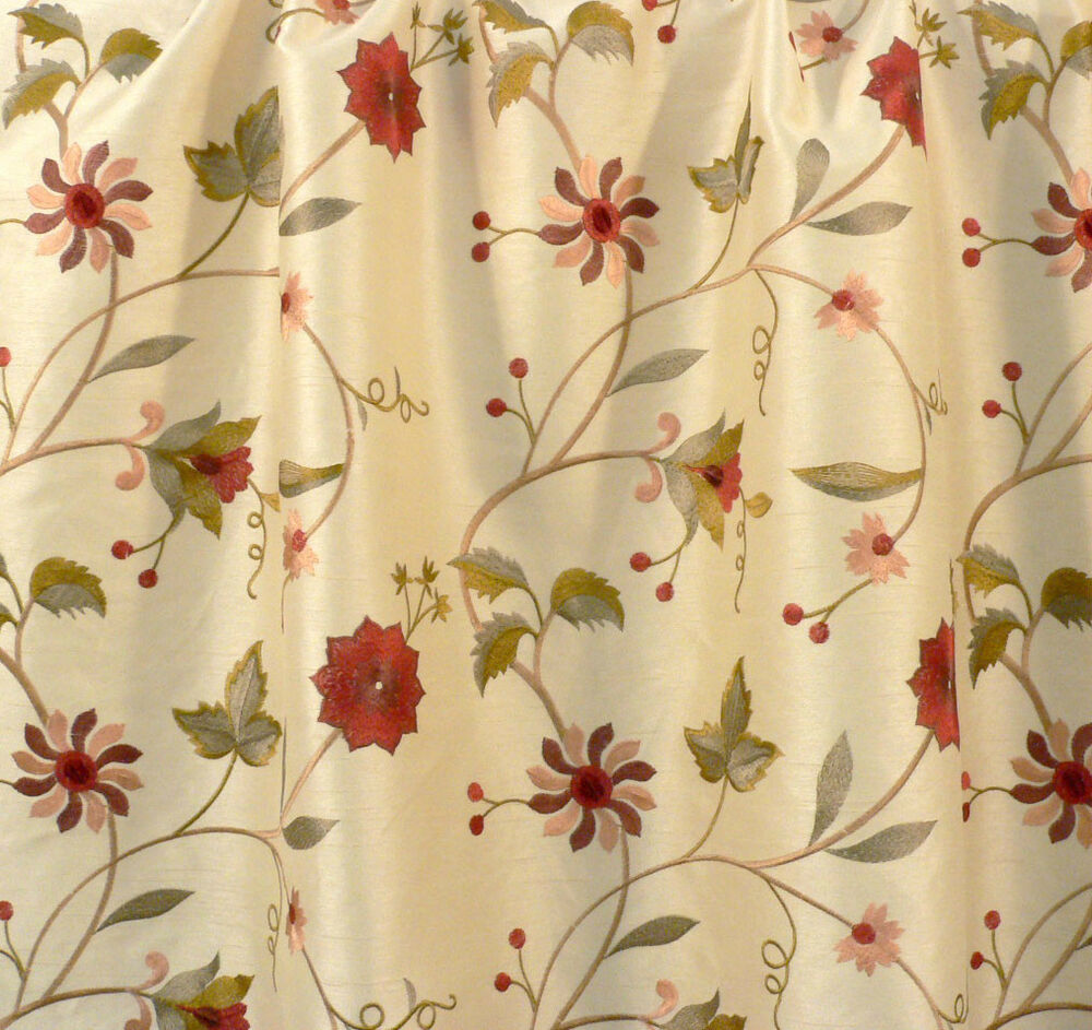 Drapery upholstery fabric embroidered floral faux silk for Floral upholstery fabric