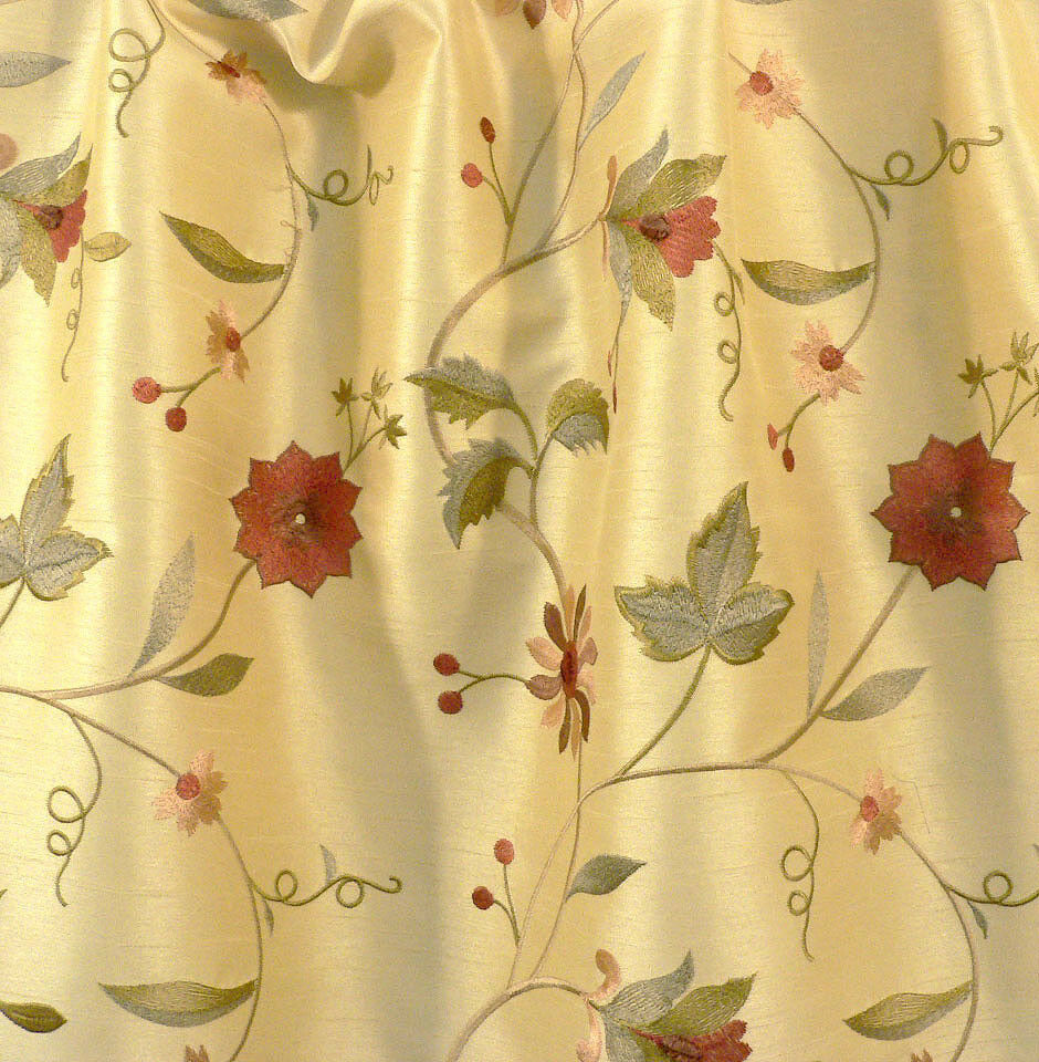 Drapery Upholstery Fabric Embroidered Floral Faux Silk Shantung Yellow Ebay
