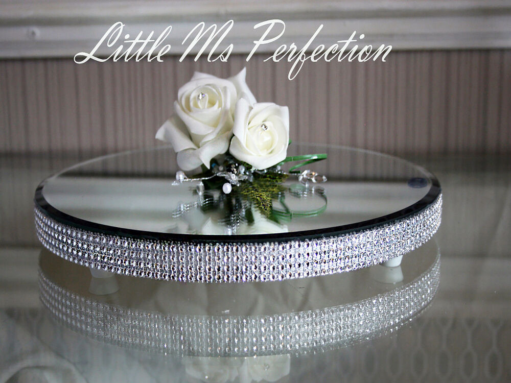 round diamante crystal mirror plate cake stand wedding table